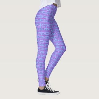 紫色および青の幾何学的なレギンス レギンス
