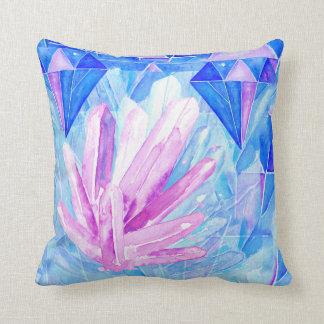 紫色および青の水晶宝石の抽象芸術 クッション