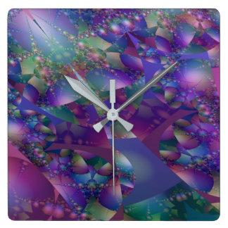 紫色および青の泡フラクタル スクエア壁時計