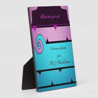 紫色および青の結婚 フォトプラーク