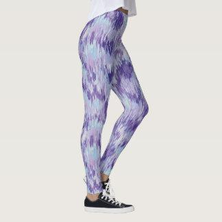 紫色および青の縦のペンキパターンレギンス レギンス