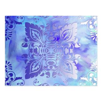 紫色および青の華美なデザイン ポストカード