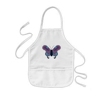 紫色および青の蝶エプロン 子供用エプロン