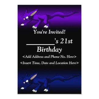 紫色および青猫のドラゴンの招待状 カード