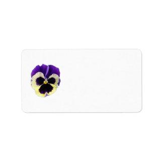 紫色および黄色のパンジーの宛名ラベル ラベル