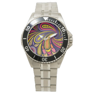紫色および黄色のペイズリー 腕時計