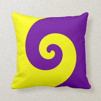 紫色および黄色の回転 クッション