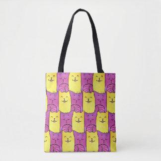 紫色および黄色の子猫のトートバック トートバッグ