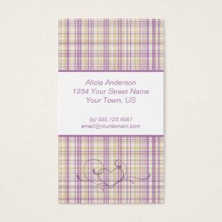 紫色および黄色の格子縞の名刺 名刺