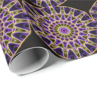紫色および黄色の白熱万華鏡のように千変万化するパターンによってタイルを張られる紙 ラッピングペーパー