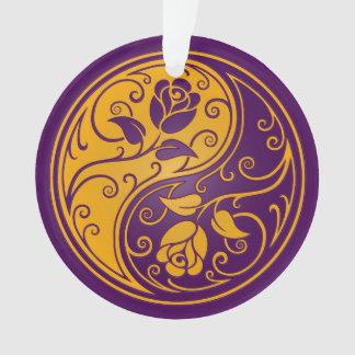 紫色および黄色の陰陽のバラ オーナメント