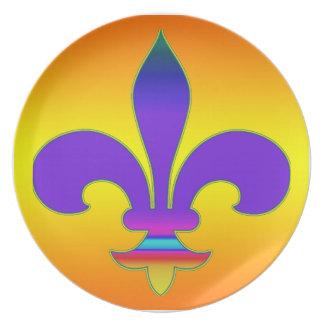 """紫色および黄色の""""(紋章の)フラ・ダ・リ""""のプレート プレート"""