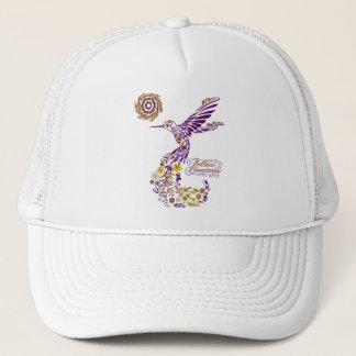 紫色および黄色ハチドリのねじれのデザインI キャップ