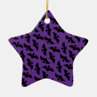 紫色および黒いこうもり セラミックオーナメント