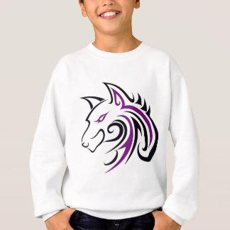 紫色および黒いオオカミの頭部の輪郭 スウェットシャツ