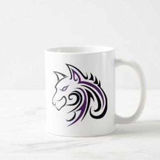 紫色および黒いオオカミの頭部 コーヒーマグカップ