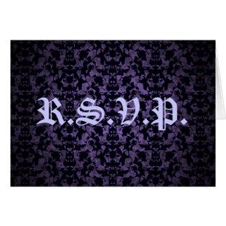 紫色および黒いゴシック様式エレガントなR.S.V.P.カード カード
