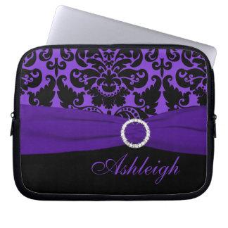 紫色および黒いダマスク織の模造のなリボンのラップトップスリーブ ラップトップスリーブ