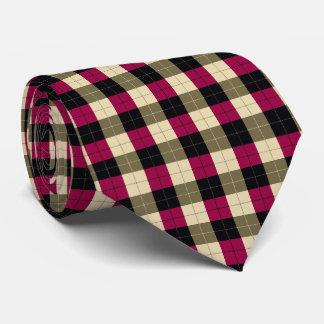 紫色および黒いデザイナー格子縞パターン カスタムネクタイ