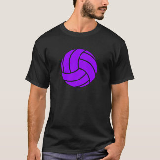 紫色および黒いバレーボールの人のTシャツ Tシャツ