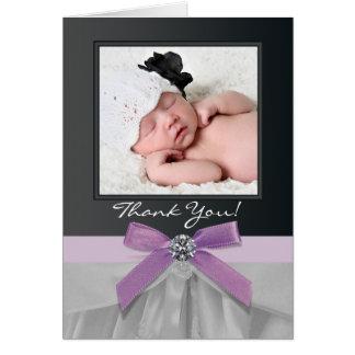 紫色および黒いベビーの写真のサンキューカード ノートカード