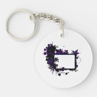紫色および黒いヤシの木フレーム キーホルダー