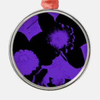 紫色および黒いラッパスイセン メタルオーナメント