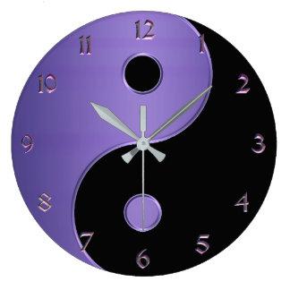 紫色および黒いラベンダーの陰陽 ラージ壁時計