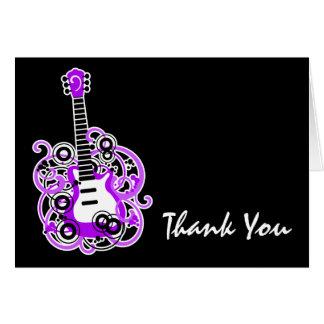 紫色および黒いロックスターのギターはノート感謝していしています カード