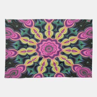 紫色および黒い抽象美術 キッチンタオル