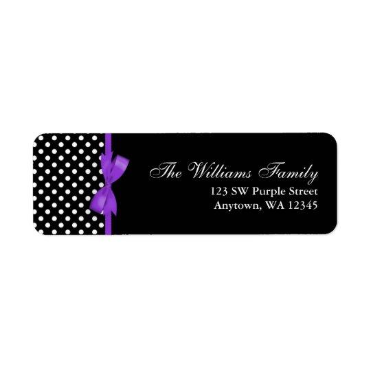 紫色および黒い水玉模様の弓 返信用宛名ラベル