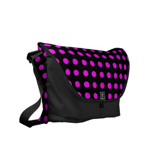紫色および黒い水玉模様-メッセンジャーバッグ クーリエバッグ