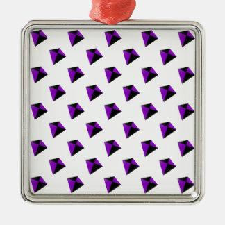 紫色および黒い菱形凧 メタルオーナメント