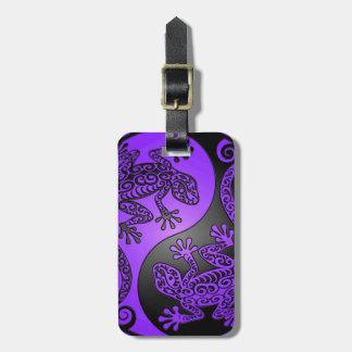 紫色および黒い陰陽のヤモリ ラゲッジタグ