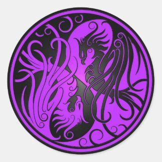 紫色および黒い陰陽フェニックス ラウンドシール
