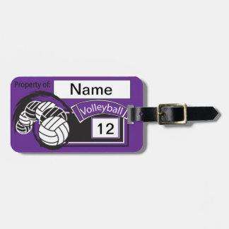 紫色および黒くスポーティなバレーボール ラゲッジタグ
