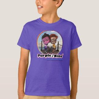 紫色および9人の紫色の子供T Tシャツ