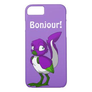 紫色か緑または白いReptilianの鳥Bonjour iPhone 7ケース