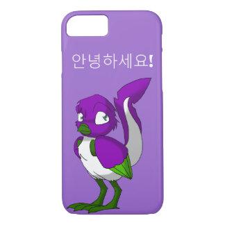 紫色か緑または白人のReptilianの鳥の韓国語こんにちは iPhone 7ケース
