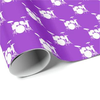 紫色で置かれる音楽白いドラム ラッピングペーパー