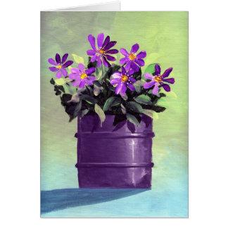 紫色によっては引っ越し祝いパーティーの新しい家が開花します グリーティングカード