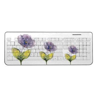 紫色によっては無線キーボードが開花します ワイヤレスキーボード