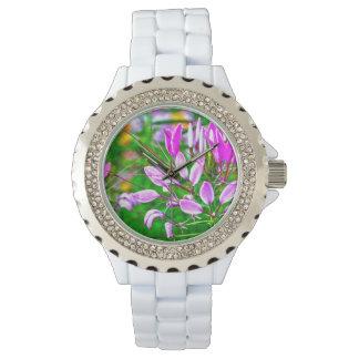紫色によっては白いラインストーンの腕時計が開花します 腕時計