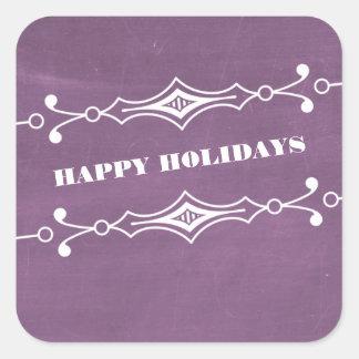 紫色によって傾けられる黒板の休日のステッカー スクエアシール