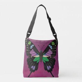 紫色によって斑点を付けられるアゲハチョウ クロスボディバッグ