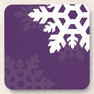 紫色に対する明るく、白い雪片 コースター