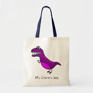 紫色のおもしろいな怒っている恐竜の子供の図書館のバッグ トートバッグ
