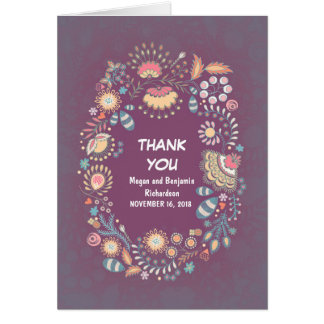 紫色のお洒落な花のリースのサンキューカード カード