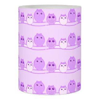 紫色のかわいいフクロウ家族 LEDキャンドル