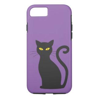 紫色のかわいい黒猫の堅い例のiPhone 7の箱 iPhone 8/7ケース